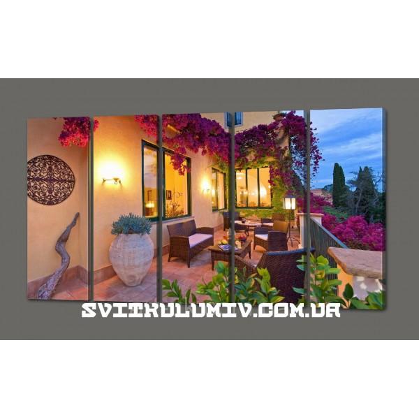 Модульная картина Красивый дом.Терраса (картина из пяти частей) 110*64 см Код: 470.5к.110