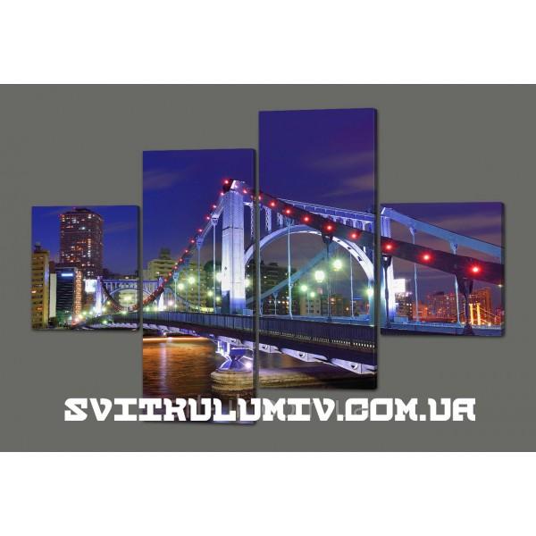 Модульная картина Ночной мост 160*114 см Код: 457.4к.160