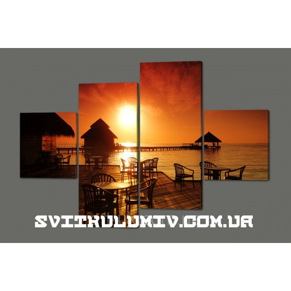 Модульная картина Тропическое кофе на фоне заката. Мальдивы 160*114 см Код: 467.4к.160
