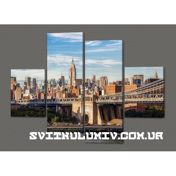 Модульная картина Бруклинский мост 120*93 см Код: 460.4к.120