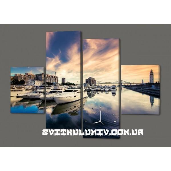 Модульная картина с часами Пришвартованные Яхты. Мост 120*93 см Код: 459.4к.120
