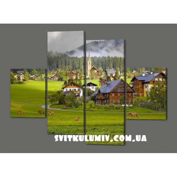 Модульная картина Горная деревушка 120*93 см Код: 458.4к.120