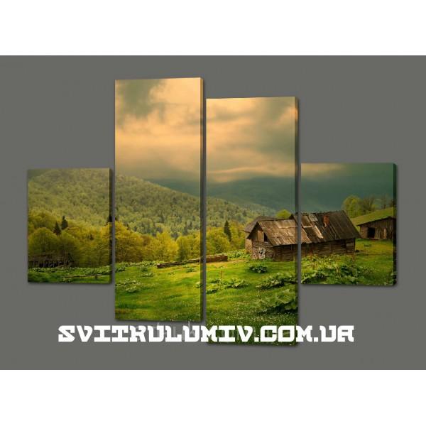 Картина из частей Зеленый луг 120*93 см Код: 453.4к.120