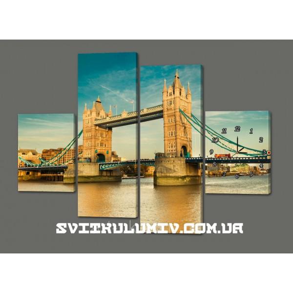 Модульная картина с часами Мост 120*93 см Код: 423.4к.120