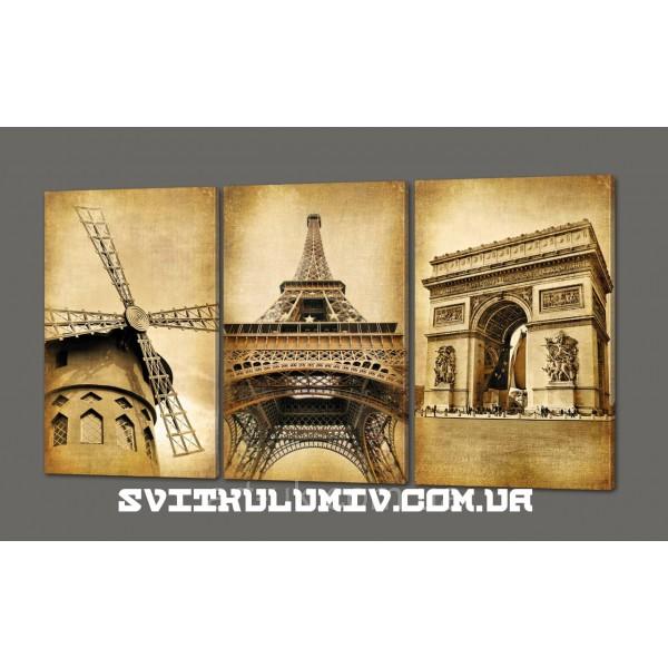 Модульная картина в винтажном стиле Эйфелева башня. Париж 120*70 см Код: 314.3к.120