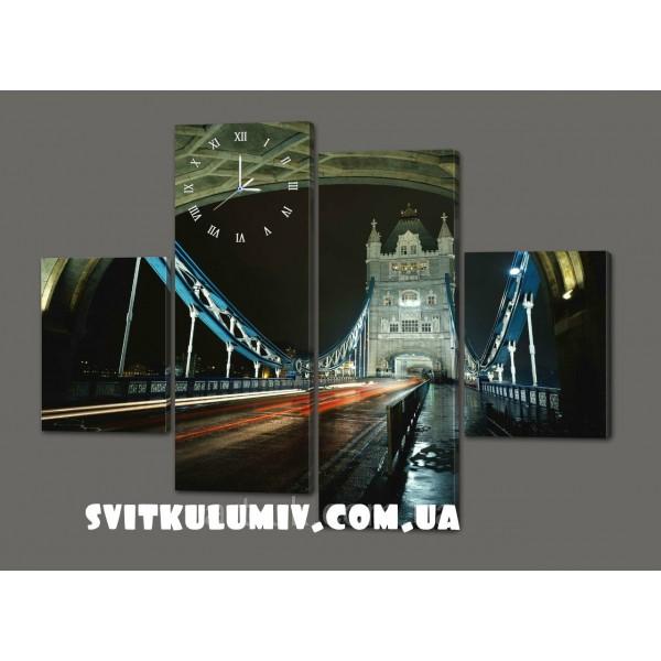 Модульная картина с часами Ночной мост 120*93 см Код: 431.4к.120