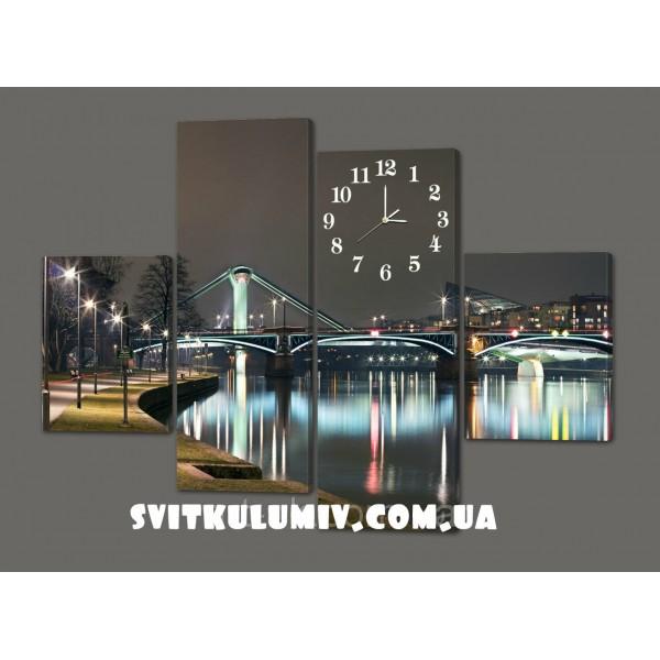 Модульная картина с часами Ночной город. Набережная 120*93 см Код: 424.4к.120
