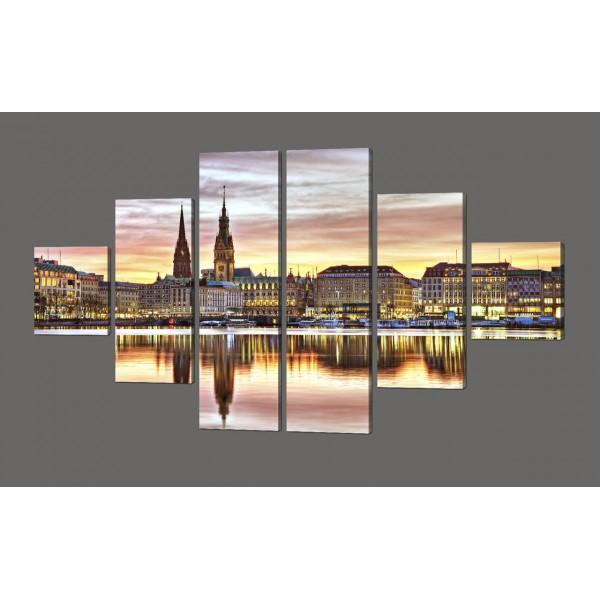 Модульная картина Закат над городом 168*100 см
