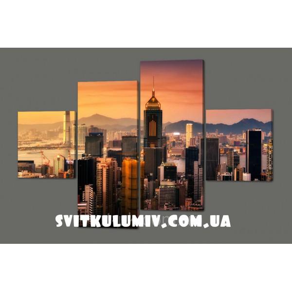 Модульная картина Закат в Гонг-Гонге 160*114 см Код: 422.4к.160