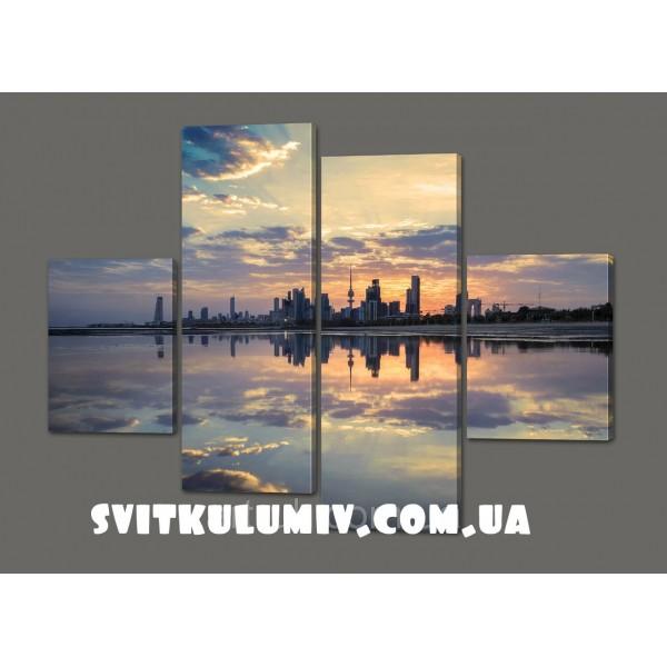 Модульная картина Город.Облака 120*93 см Код: 416.4к.120