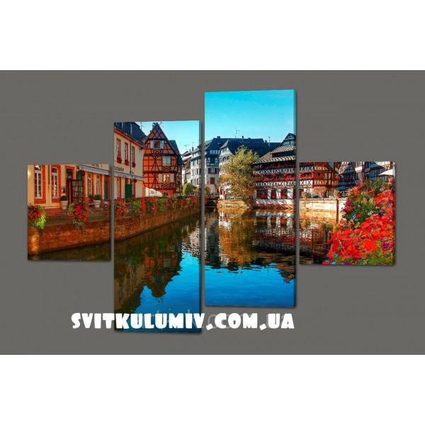 Модульная картина река во Франции. Страсбург 160*114 см Код: 414.4к.160