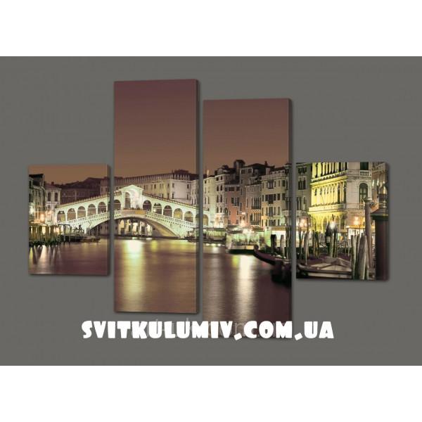 Модульная картина Мост в Венеции 120*93 см Код: 401.4к.120