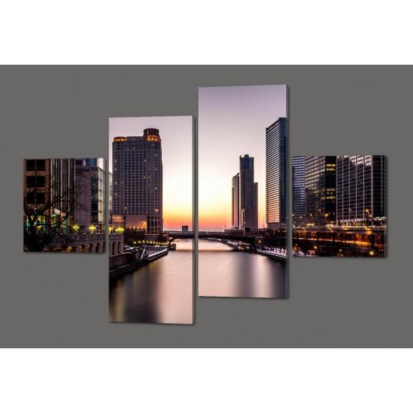 Модульная картина Город 160*114 см Код: 390.4к.160