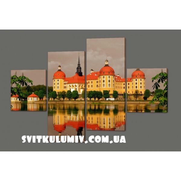 Модульная картина Замок Морицбурк. Германия 160*114 см Код: 398.4к.160