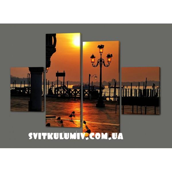 Модульная картина Закат на площади Сан-Марко, Италия 120*93 см Код: 364.4к.120