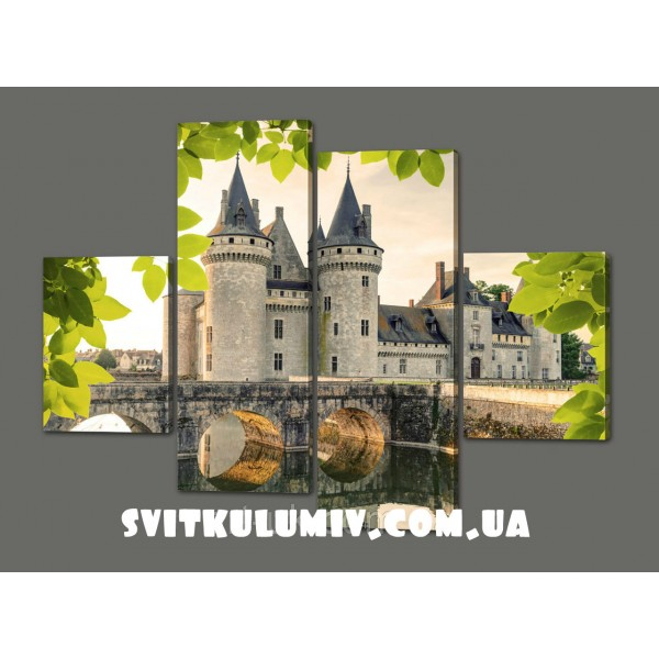 Модульная картина Белый Замок 120*93 см Код: 382.4к.120