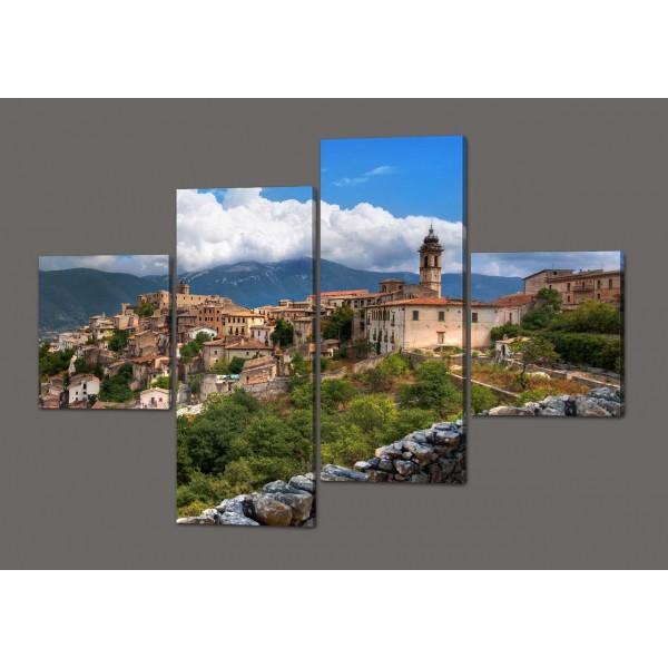 Модульная картина Итальянский город Абруццо. 160*114 см Код: 354.4к.160
