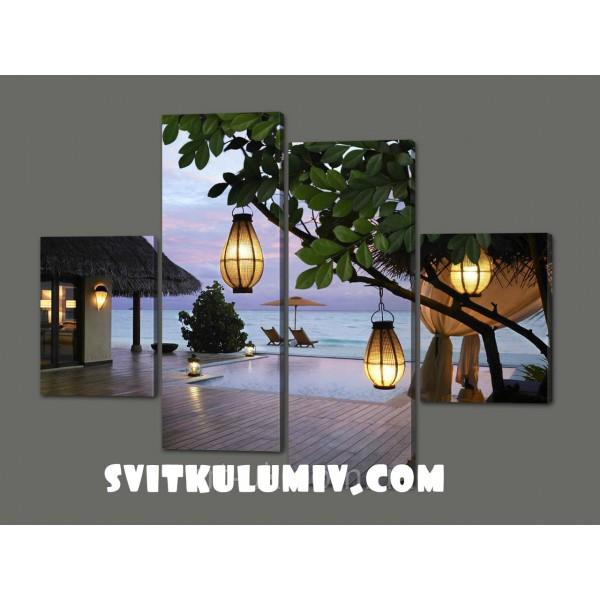 Модульная картина Отель. Южный Мале-Атолл. Мальдивы.Maschio. 120*93 см
