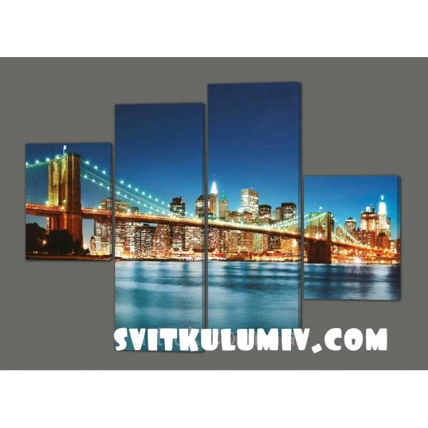 Модульная картина на коже Бруклинский мост ночью 120*93 см Код: 200.4k.120