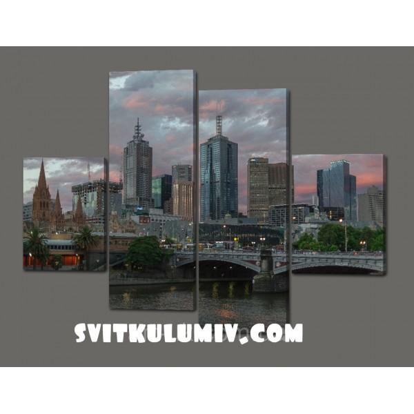 Модульная картина на кожзаме Город.Мост 120*93 см Код: 348.4к.120