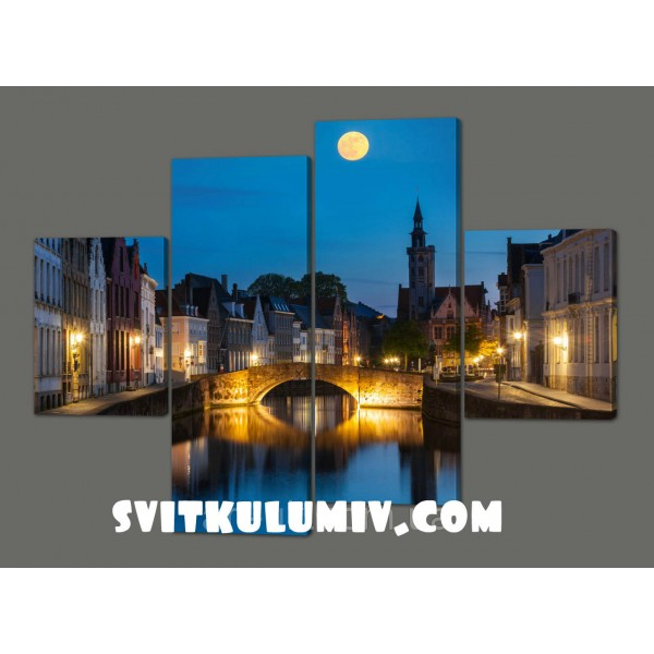 Модульная картина Ночной мост 120*93 см Код: 235.4к.120