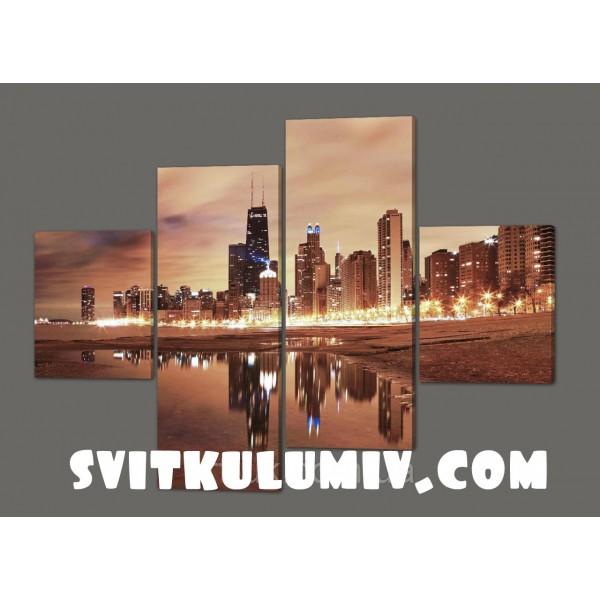 Модульная картина Городские пейзажи Чикаго 160*114 см Код: 264.4k.160