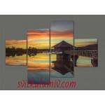 Модульная картина Дом и озеро 160*114 см Код: 253.4k.160