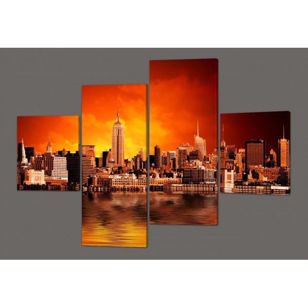Модульная картина Панорама Нью-Йорка с небоскребами 160*114 см Код: 242.4k.160