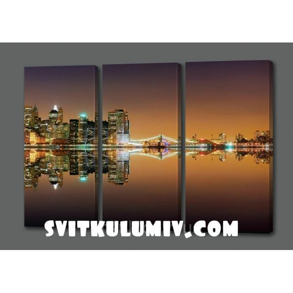 Модульная картина Ночной Нью Йорк.Бухта.Огни.Океан 90*70 см Код: 197.3k.79