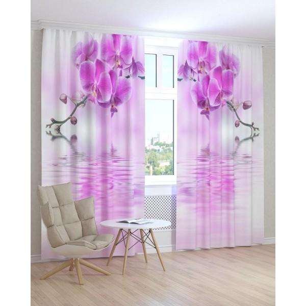 Фотошторы розовая орхидея над водой Код товара: 1096