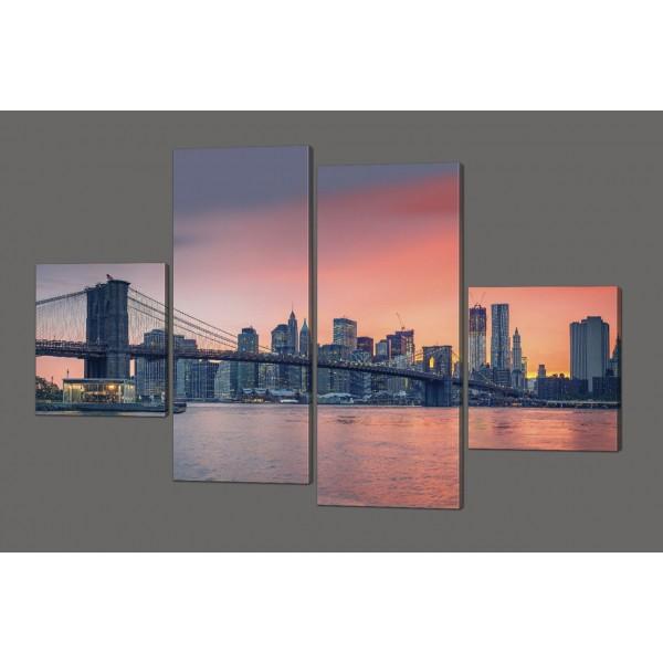 Модульная картина Закат над мост 160*114 см Код: 617.4к.160