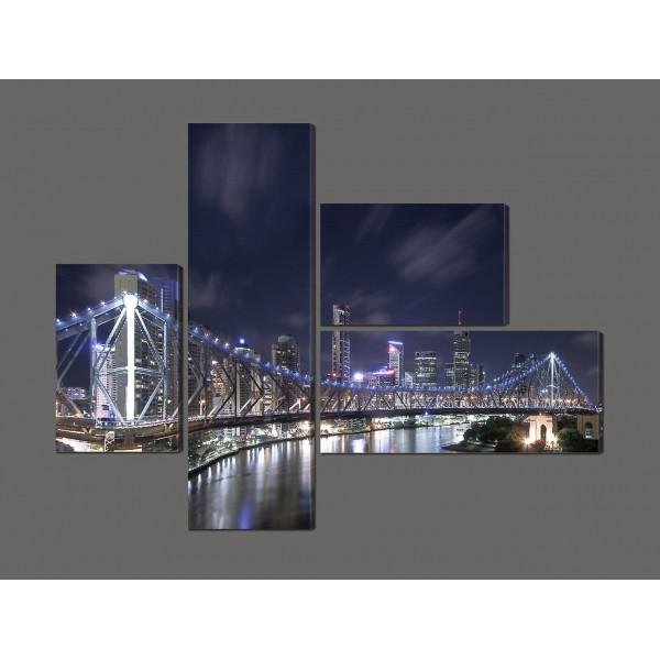 Модульная картина Ночной мост 120*96,5 см Код: 589.4к.120
