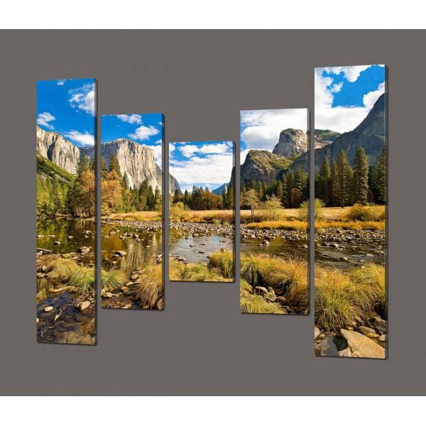 Модульная картина Горная река 140*125 см Код: 604.5к.140