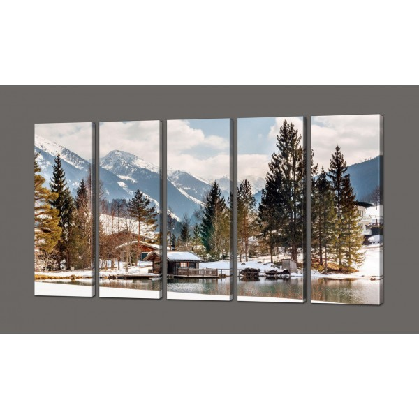 Модульная картина Зимний пейзаж 110*64 см Код: 600.5к.110