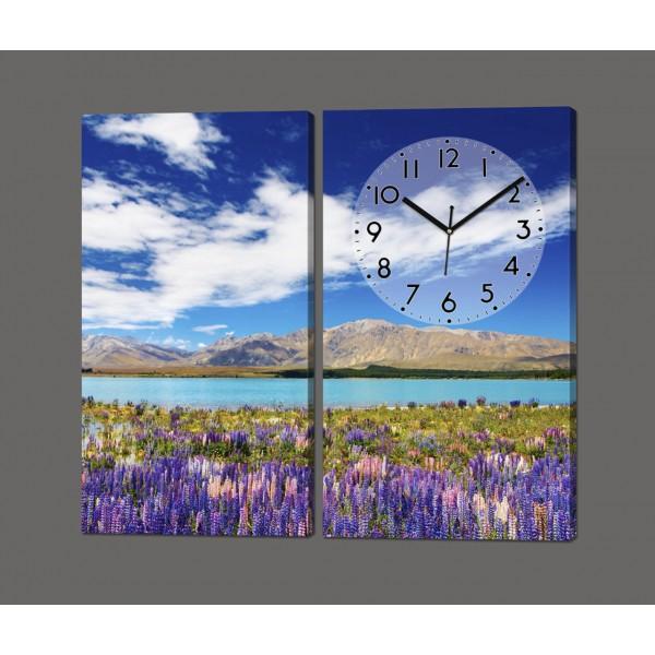 Модульная картина с часами Горный пейзаж 80*70 см Код: 800.2к.87