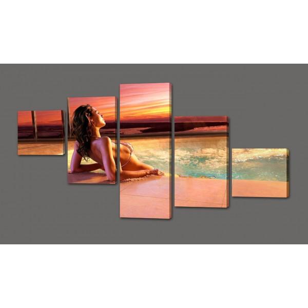 Модульная картина Девушка, море и закат 110*64 см Код: 309.5к.110