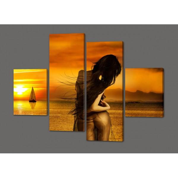 Модульная картина Девушка и яхта 120*93 см Код: 313.4к.120