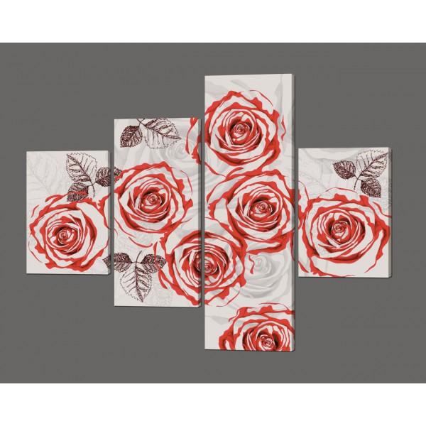 Модульная картина Розы 120*96,5 см Код: 619.4к.120
