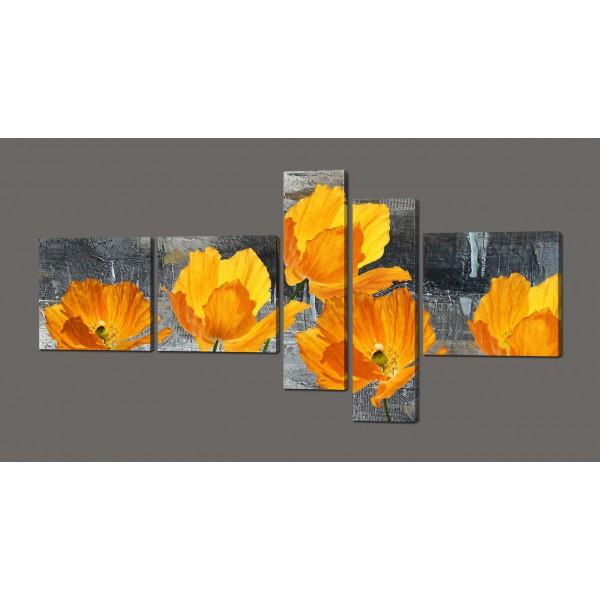 Модульная картина желтые цветы 160*84 см Код: 606.5к.160