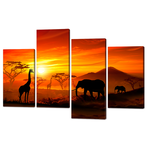 Модульная картина Африканские прерии 126* 82,5 см Код: w7319