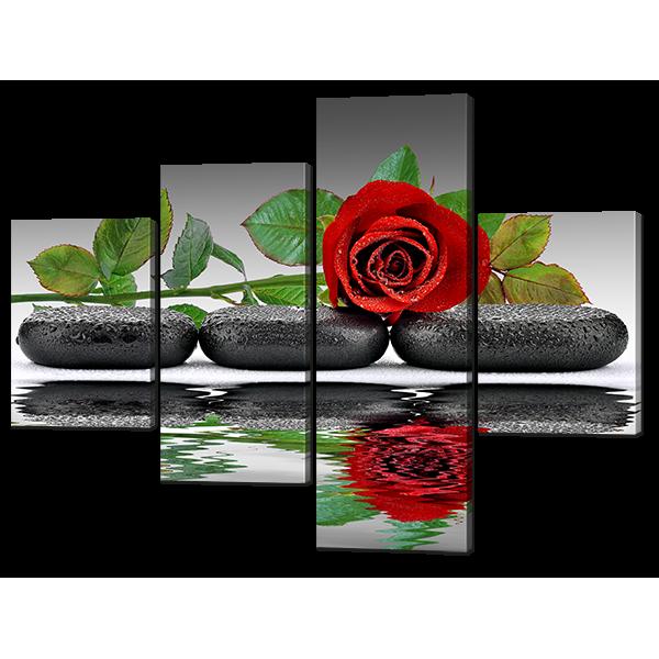 Модульная картина Три черных камня и роза 126* 93,5 см Код: w6525