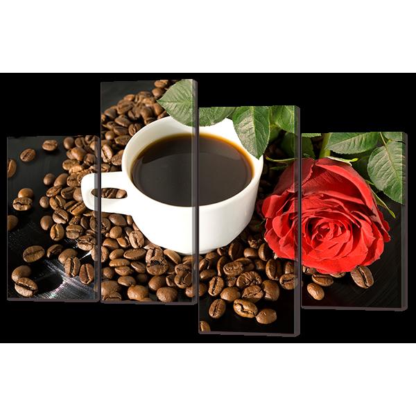 Модульная картина Красная роза и кофе 126* 82,5 см Код: w6889