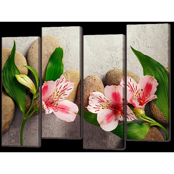 Модульная картина Цветы на камнях 94* 69 см Код: w70014