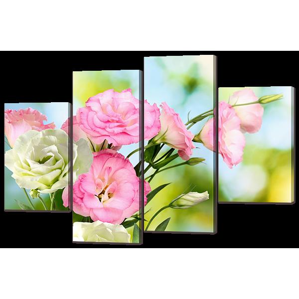 Модульная картина Нежные цветы Эустомы 126* 82,5 см Код: w7179