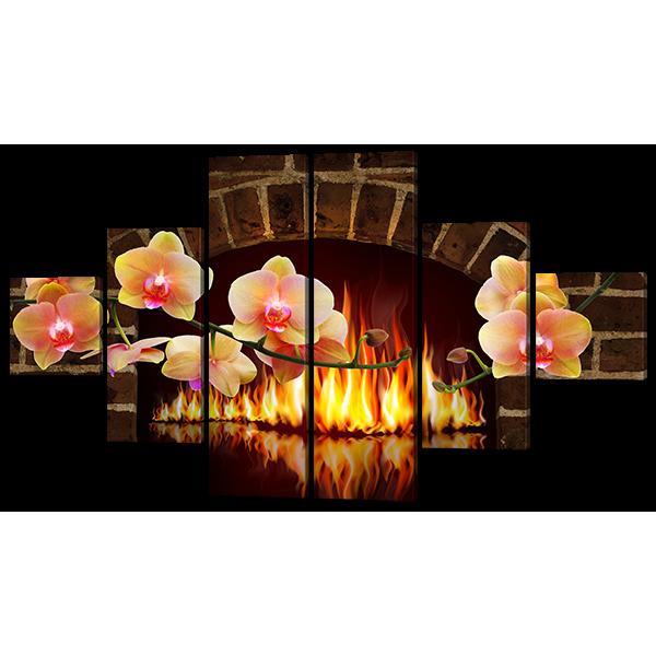 Модульная картина Камин и орхидеи 178* 100 см Код: w6768