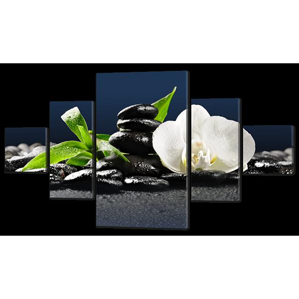 Модульная картина Одна белая орхидея и камни 168* 100 см Код: w6029