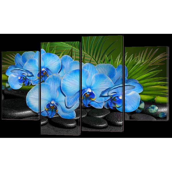 Модульная картина Голубые орхидеи 126* 82,5 см Код: w7269