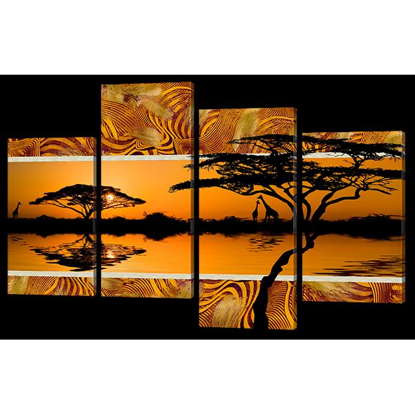 Модульная картина Африканский пейзаж закат 126* 82,5 см Код: w6759
