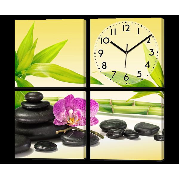 Модульная картина Орхидея на черных камнях 62* 62 см Код: w8089